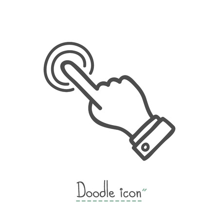 hand touch: touch operation. Hand Drawn Doodle Icon.