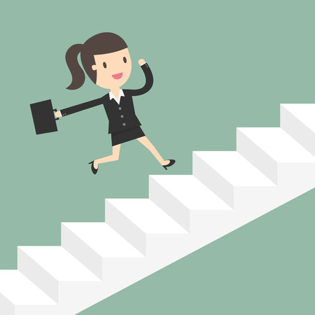 woman stairs: Growth. Business Woman Running Up Stairs. Business Concept Cartoon Illustration. Illustration