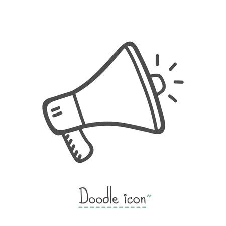 Megaphone Icon, Hand Drawn Doodle Icon, Sketch. Illustration