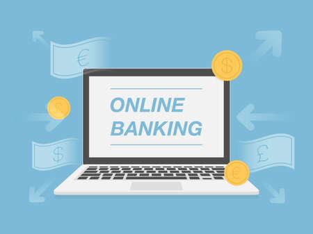 banking concept: Online Banking. Fintech Concept Illustration. Illustration