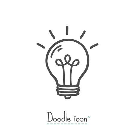 Bulb. Hand Drawn Doodle Icon. Illustration