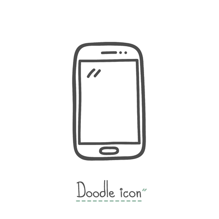 smart phone hand: Smart Phone. Hand Drawn Doodle Icon. Illustration