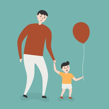 father and child: Father And Son With Red Balloon. Lifestyle Cartoon Illustration.