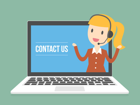 contact information: Contact Us. Customer Service Agent. Online Information Technology Concept Illustration.