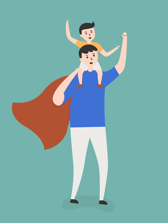 piggyback: Super Dad Carrying His Son On Shoulders. Lifestyle Cartoon Illustration.