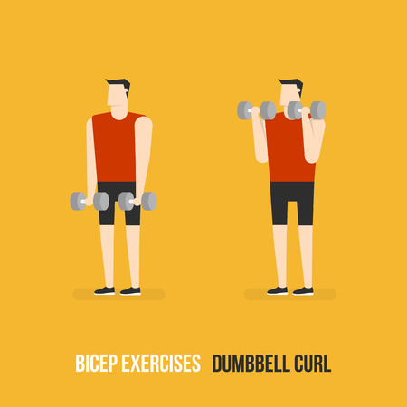 bicep curls: Bicep Exercises. Dumbbell Curl. Flat Design Bodybuilder Character Lifting Dumbbell.