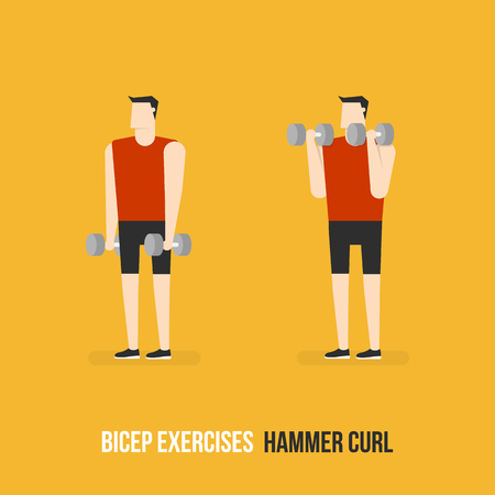 bicep curls: Bicep Exercises. Hammer Curl. Flat Design Bodybuilder Character Lifting Dumbbell.
