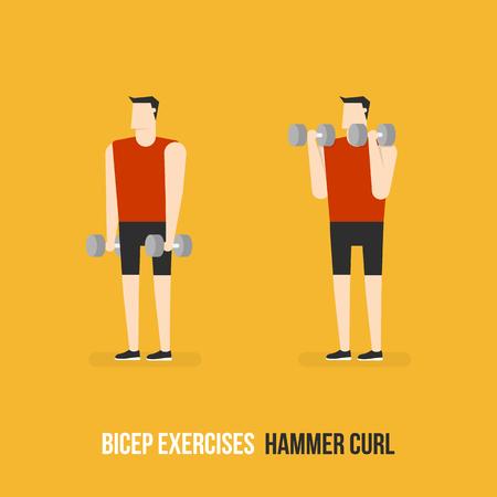 bicep curls: Bicep Exercises. Hammer Curl. Flat Design Bodybuilder Character Lifting Dumbbell.