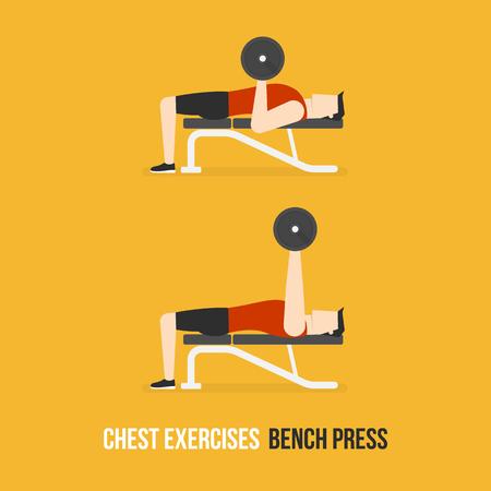 Chest Exercises. Bench Press. Flat Design Bodybuilder Character Lifting Dumbbell.