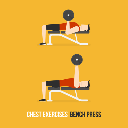 bicep curls: Chest Exercises. Bench Press. Flat Design Bodybuilder Character Lifting Dumbbell. Illustration