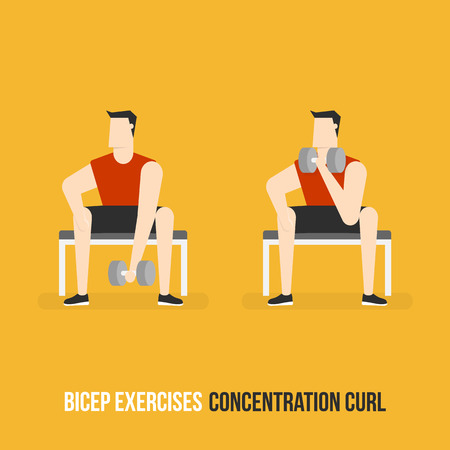concentration: Bicep Exercises. Concentration Curl. Flat Design Bodybuilder Character Lifting Dumbbell.