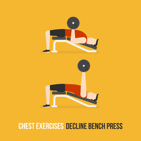 press: Chest Exercises. Decline Bench Press. Flat Design Bodybuilder Character Lifting Dumbbell. Illustration