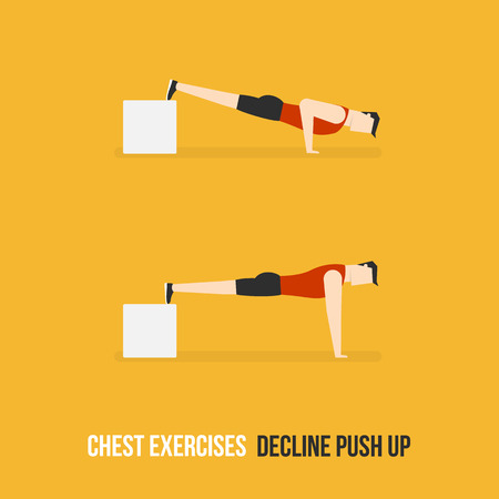 push up: Chest Exercises. Decline Push Up. Flat Design Bodybuilder Character Lifting Dumbbell. Illustration