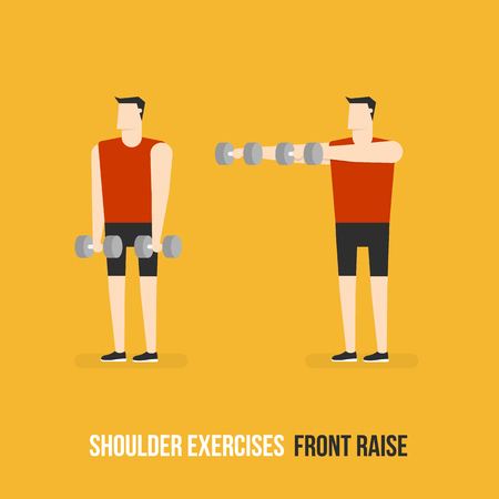 front raise: Shoulder Exercises. Front Raise. Flat Design Bodybuilder Character Lifting Dumbbell.