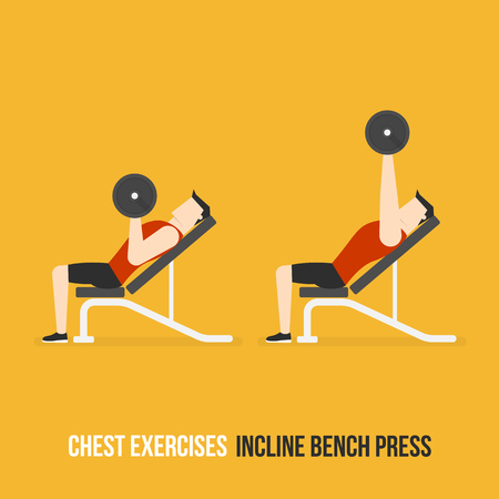 bicep curls: Chest Exercises. Incline Bench Press. Flat Design Bodybuilder Character Lifting Dumbbell.