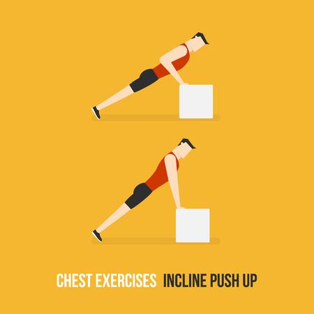 Chest Exercises. Incline Push Up. Flat Design Bodybuilder Character Lifting Dumbbell. Illustration