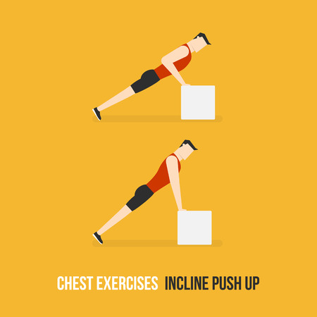 bicep curls: Chest Exercises. Incline Push Up. Flat Design Bodybuilder Character Lifting Dumbbell. Illustration