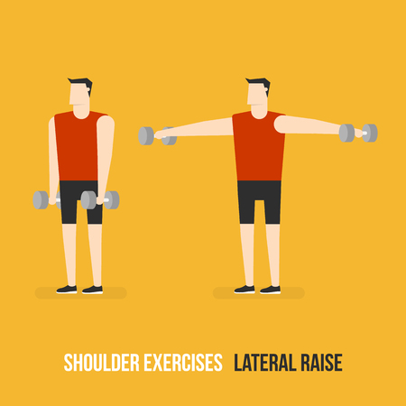 bicep curls: Shoulder Exercises. Lateral Raise. Flat Design Bodybuilder Character Lifting Dumbbell.