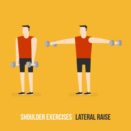 bicep curls: Shoulder Exercises. Lateral Raise. Flat Design Bodybuilder Character Lifting Dumbbell.