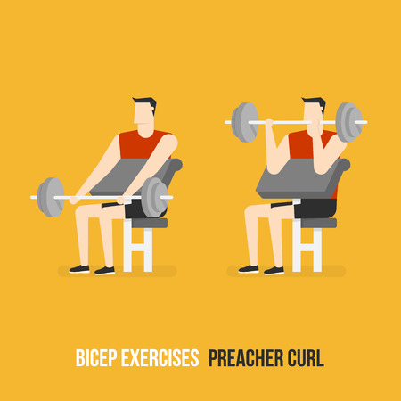 preacher: Bicep Exercises. Preacher Curl. Flat Design Bodybuilder Character Lifting Dumbbell.