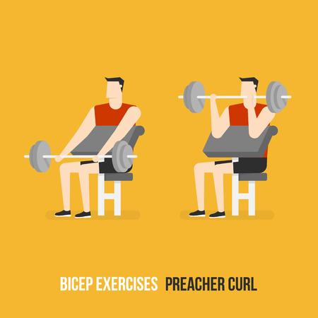 bicep curls: Bicep Exercises. Preacher Curl. Flat Design Bodybuilder Character Lifting Dumbbell.