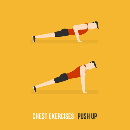 bicep curls: Chest Exercises. Push Up. Flat Design Bodybuilder Character Lifting Dumbbell.