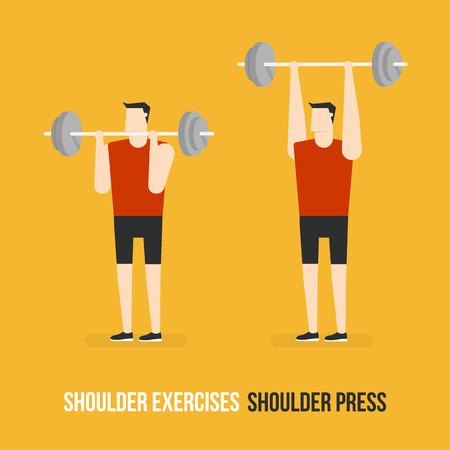 Shoulder Exercises. Shoulder Press. Flat Design Bodybuilder Character Lifting Dumbbell.