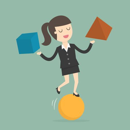 Businesswoman Balancing On the Ball. Business Concept Cartoon Illustration.