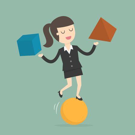 Businesswoman Balancing On the Ball. Business Concept Cartoon Illustration.