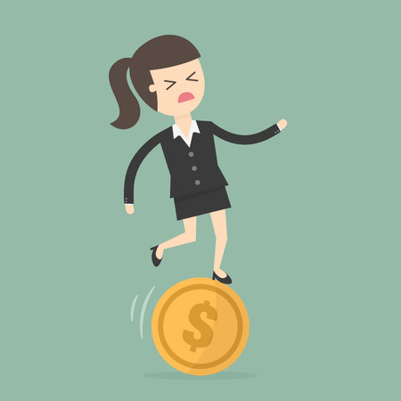 coin: Businesswoman Stand On Unbalances Coin. Business concept cartoon illustration.