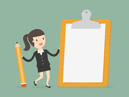 Businesswoman holding a clipboard with blank white paper. Flat design business concept cartoon illustration. Illustration