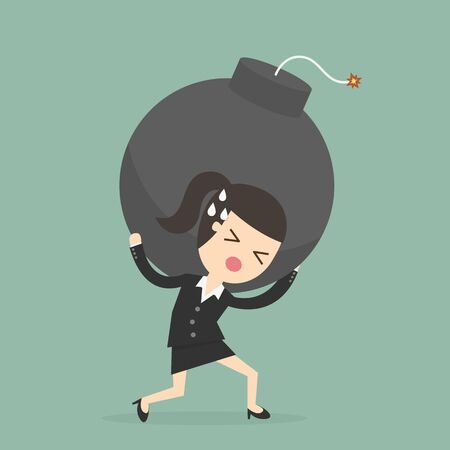 Businesswoman Carrying The Bomb. Business concept illustration. Illustration