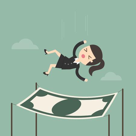 Empresaria caer en una red de seguridad financiera. concepto de negocio ilustración de dibujos animados.