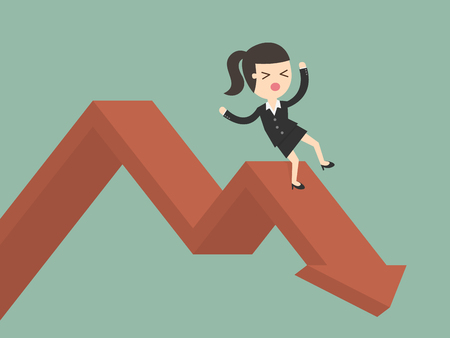 downwards: Businesswoman On Falling Down Chart. Business Concept Cartoon Illustration.