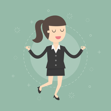 young businesswoman: Meditating Businesswoman. Business Concept Cartoon Illustration.