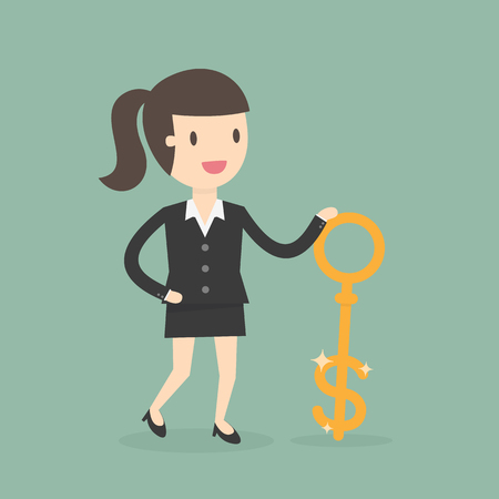 woman holding money: Money Key. Business Concept Cartoon Illustration