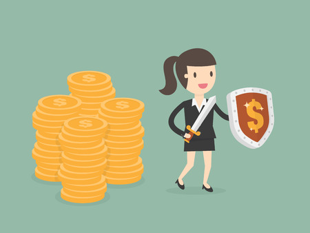 Businesswoman Protecting Money With Shield And Sword. Business Concept Cartoon Illustration.