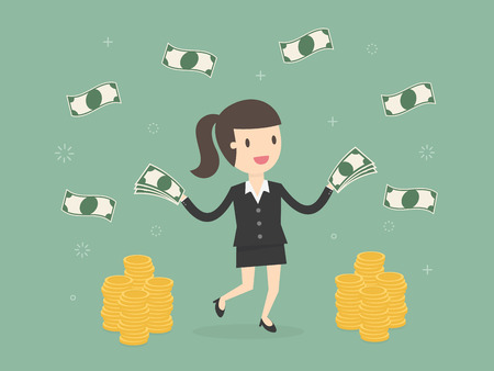Happy businesswoman throwing money up. Business concept cartoon illustration Ilustração Vetorial