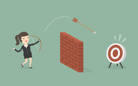 focus: Businesswoman Shoot Arrow Over The Wall To The Target. Business Concept Cartoon Illustration. Illustration