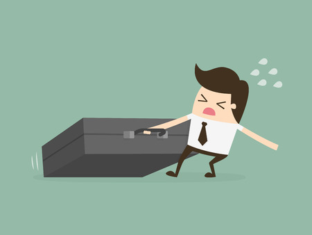 Businessman Dragging Huge Briefcase. Hard Working. Business Concept Cartoon Illustration.