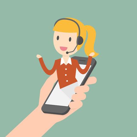 Customer Service. Customer Service Representative. Online Information Technology Concept Illustration.  イラスト・ベクター素材