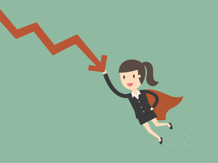 Super businesswoman stops the falling down chart. Business concept cartoon illustration Illustration