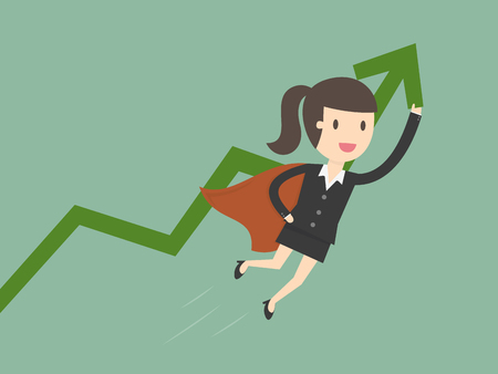 Super businesswoman with growing graph. Business concept cartoon illustration.
