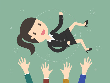 Success. businesswoman being thrown in the air. Flat design illustration