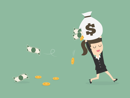 reckless: Careless Businesswoman Carrying a Torn Money Bag. Financial Loss Concept. Illustration