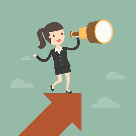 Vision et le concept de croissance. Businesswoman regarde à travers un télescope sur la croissance flèche. Business concept dessin animé illustration.