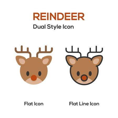holiday symbol: Reindeer Flat Icon And Flat Line Icon. Symbol of holiday, Christmas celebration. Illustration