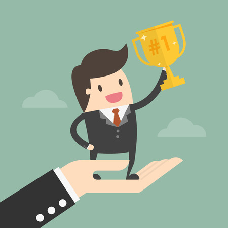 Successful Businessman Standing On Big Hand. Business Concept Illustration.