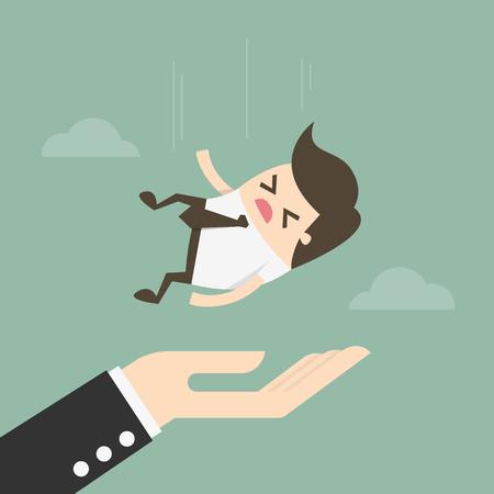 Concepto de seguro Empresario cayendo en gran mano. Ilustración del concepto de negocio.