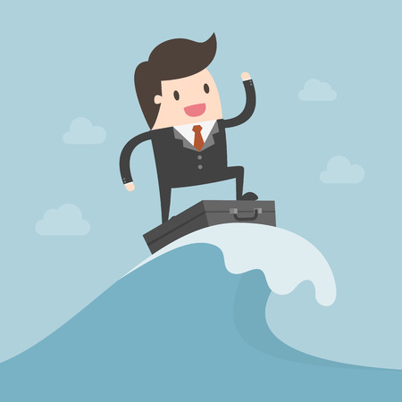 Businessman Surfing On The Wave. Business Concept Illustration.